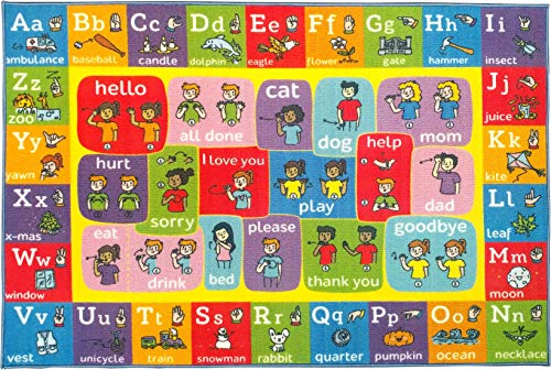 Playtime Collection ABC Alphabet ASL Sign Language Educational Learning Area Rug Alfombra para niños...