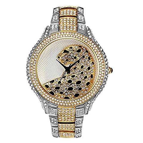 Sheli 2 Tone Gold and Silver Unique Designer Oversized Crystal Quartz Watch for Women Wife Girlfriend,