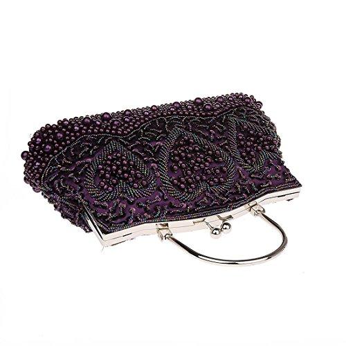 KAXIDY Damen Glanz Strass Pailletten Handtasche Clutches Handtasche Abendtasche Violett