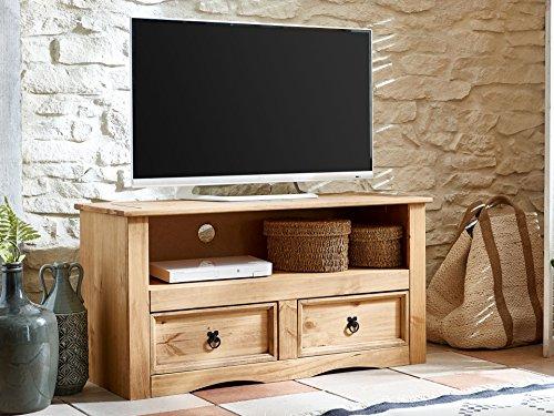 fernsehschrank holz SAM® TV Board aus Kiefernholz, Mexico-Möbel, Lowboard mit 2 Schubfächern, gewachst, Schwarze Metallgriffen, 108 x 44 cm [521547]