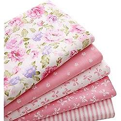 5pcs/lot 40 cm * 50 cm rosa 100% tela de algodón para coser retales Colchas Patchwork Seda Tilda - Gamuza de muñeca Kids ropa de cama Textil