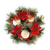 belupai Bunte Luxus Weihnachtskr?nze mit B?Gen Dekorationen Indoor Outdoor K¨¹nstliche Weihnachtskugeln Girlande F¨¹r Baum T¨¹r H?ngen (Rot-22 cm)