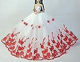 Mode magnifique robe de soirée à la main pour la poupée Barbie robes / vêtements /robe de poupée (rouge)