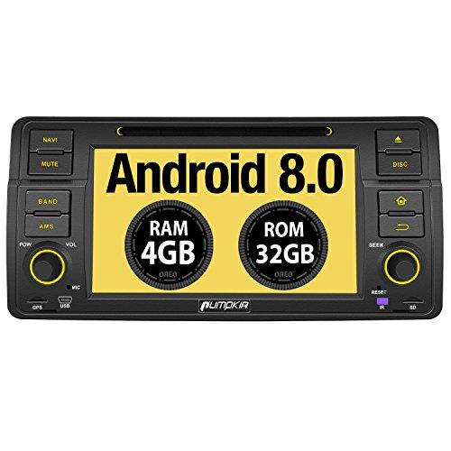 PUMPKIN Android 8.0 Autoradio Moniceiver für BMW 3er E46 mit GPS Navi 4GB Unterstützt Bluetooth DAB + WLAN 4G Android Auto USB MicroSD CD DVD 1 DIN 7 Zoll Bildschirm Car Audio Pro 1 Amp