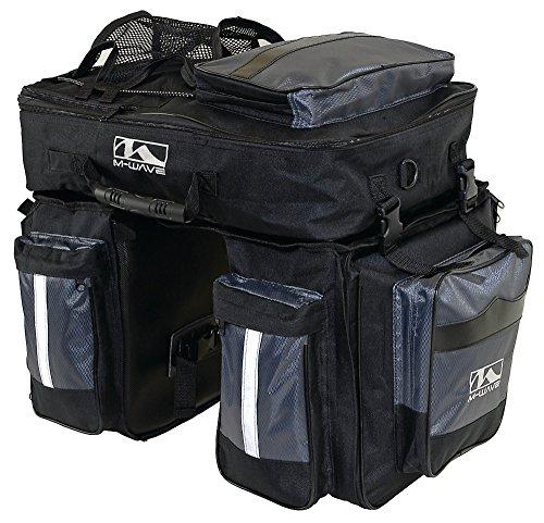 M-Wave Gepäcktasche 3-fach Traveller, schwarz/ grau, 62 l (Fahrrad-rad-tasche)
