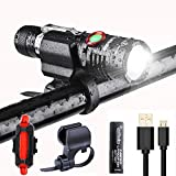 LED Bike Light Set, 1000 Lumen Super Bright Bicycle Light, USB Rechargeable Water Resistant Cycle Light, Including Front Light Rear Light Easy to Install Bracket for Cycling and Use as Flashlight