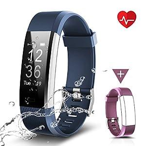 CHEREEKI Fitness Armband, LATEC Fitness Tracker Uhr mit Pulsmesser, Wasserdicht IP67 Aktivitätstracker Pulsuhren Bluetooth Smart Armbanduhr Schrittzähler mit Schlafmonitor Kalorienzähler Anruf SMS