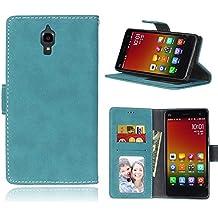 Xiaomi Mi4 Funda, FUBAODA Premium en Dorado PU Cuero Funda Folio Carcasa [Gamuza][Scrub], Piel Case Cover con Soporte para Xiaomi Mi4 (Azul)