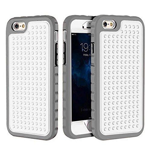 iPhone 6 Plus Hülle,iPhone 6S Plus Hülle,Lantier Rugged Einzigartige Anti-Rutsch Design Shockproof 3 in 1 Rüstung Schutzhülle für iPhone 6 Plus /6S Plus 5.5 inch Rosen Gold Grey+White