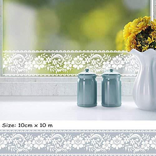 Rollo papel pintado autoadhesivo encaje blanco transparente