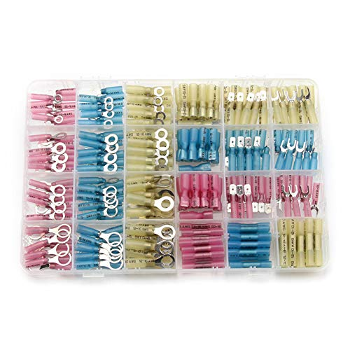 240pcs Heat Shrink Wire Connectors Mixed-Size Electrical Wire Splice Spade Ring Fork Butt Terminal Connector Kit (Ring Connectors Terminals)