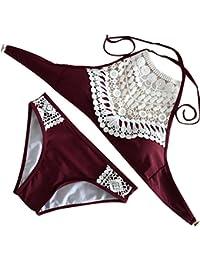 Femme Maillot de Bain Grande Taille 2 Pièces Tankini Sexy Push Up Bandage Bandeau Bikini Taille Haute Cintrée Rembourrée (3XL, Noir)