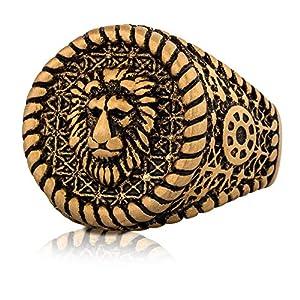 Akitsune Imperator Ring | Design-Ring Frauen Herren Edelstahl Groß Löwe König Siegel – Gold, Silber, Mattschwarz