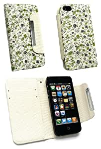 Emartbuy Premium PU Leather Wallet / Flip Case Cover Pink / Green Floral For Apple Iphone 5 / iphone 5S