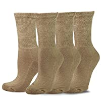 TeeHee Viscose from Bamboo Diabetic Crew Socks 3-Pack (9-11, Khaki)