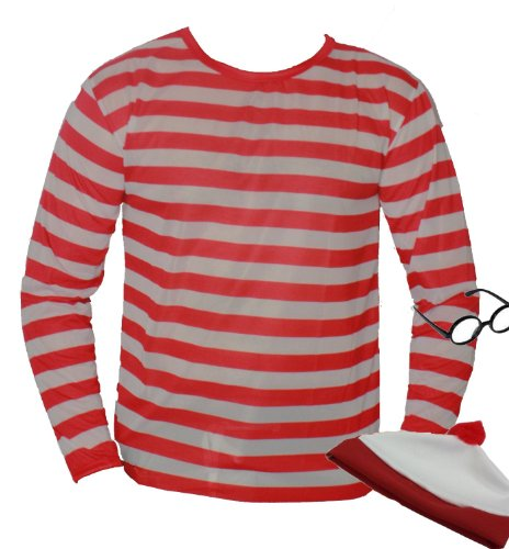 Imagen de nerd red white stripe top t shirt large plus geek hat and glasses disfraz