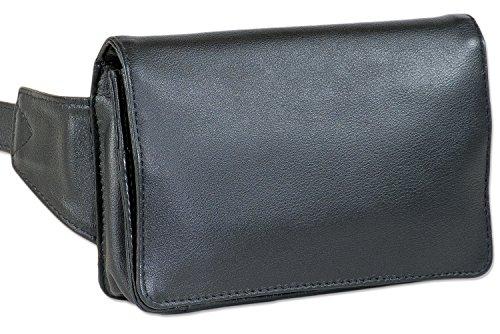Rimbaldi® Kompakte Luxus-Bauchtasche - extrem Flach aus feinem Nappa-Rindsleder in Schwarz -