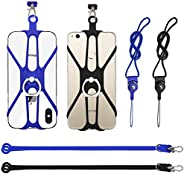 2 Pack Universal Phone Lanyards with Ring Holders, FineGood Elastic Cellphone Neck Lanyard Holder Silicone Pho