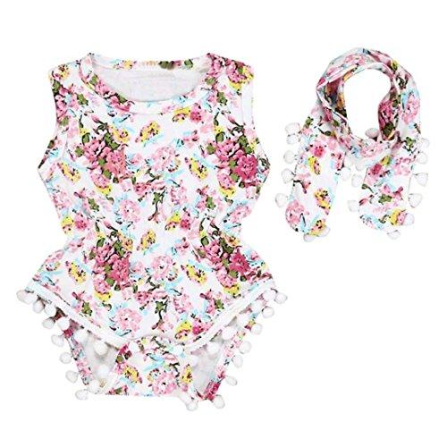 Kinderbekleidung,Honestyi 2018 Neueste Modell Neugeborenes Säugling Kleinkind Baby Mädchen Blumen Spielanzug Overall Sonnenanzug Kleiderset weich und luftig Baumwolle (12M/90CM, Weiß)