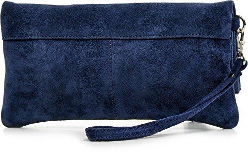 CNTMP, Borsa da Donna, Clutch, Pochette, Borsetta da Sera, In Pelle Scamosciata, Con Tasca in Pelle (SMALL), 21x12x2,5cm (L x H x P) blu scuro