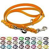 LENNIE Mehrfach verstellbare BioThane Führleine, 16mm breit, 3m lang, Pastell-Orange, geflochten, Doppelleine
