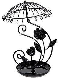 "Black Metal Rose Umbrella Necklace Jewelry Display Stand Holder 13x8"""