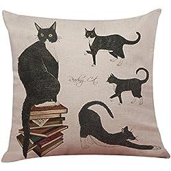 Funda de cojín Lindo gato sofá cama casa decoración Festival almohada caso By LMMVP (43cm*43cm, C)