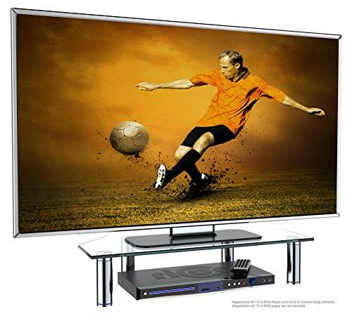 RICOO Monitorständer Bildschirmständer TV Ständer Podest FS6026-C Universal Standfuß Rack Fernsehständer LCD QLED QE 4K LED OLED IPS SUHD UHD 3D Curved/ 43cm/17-94cm/37 Zoll/Klarglas -