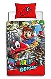 Nintendo Super Mario Odyssey Copripiumino Singolo | Reversibile Due Lati Mario Biancheria da Letto Copripiumino con Federa di