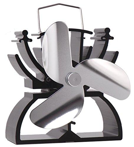 Thermoelektrischer Ventilator für Kamin / Feuerstelle, 12,5 cm hoch, umweltfreundlich, Antrieb durch Hitze nickel