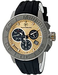 Technomarine Men's Quartz Watch with Gold Dial Chronograph Display and Black Silicone Strap TM-515005