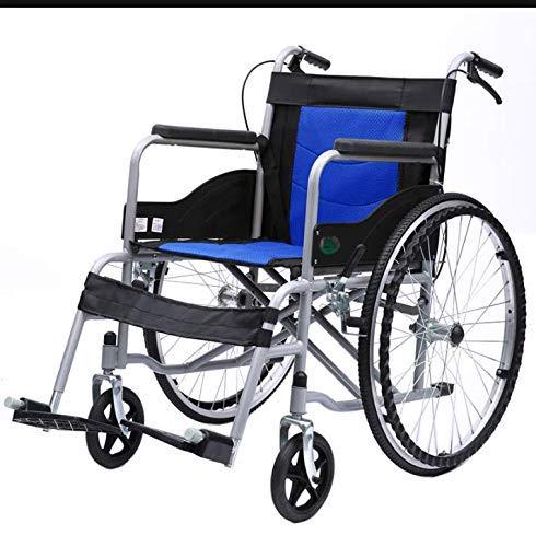 wcz Faltbarer Rollstuhl Leichte, tragbare Rollstühle für ältere Personen mit Begleiterantrieb und abnehmbaren Fußstützen mit Sicherheitsgurt und H