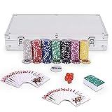 Goplus Set da Poker- 300 Chips (Cuore a Metallo) da 11,5g, 2 Mazzi di Carte, 5 Dadi, Gettoni Dealer con Valigetta in Alluminio 38,5x20,5x6,5cm (Argento)