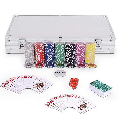 GOPLUS Fiches Set da Poker 300 Chips Laser da 115g 2 Mazzi di Poker 5 Dadi Gettoni Dealer/Small Blind/Big Blind Valigetta Alluminio 385x205x65