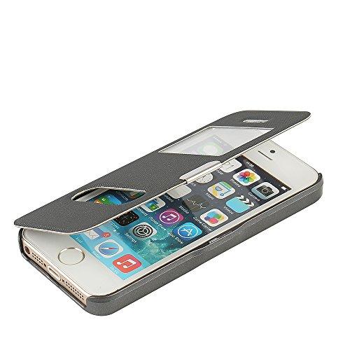 iPhone 5s Hülle, iPhone 5 Hülle, iPhone SE Hülle, MTRONX Case Cover Schutzhülle Tasche Etui Klapphülle Dual Fenster-Ansicht Magnetisch Twill PU Leder Dünn Folio Flip für Apple iPhone SE iPhone 5s iPho Grau