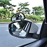 CONNECTWIDE® Blind Spot Mirror Frame-less Wide Angle Mirror Adjustable Convex Rear View Mirror 360°Rotate for All Universal Vehicles Car Stick on Design - Premium Quality (2 pcs)
