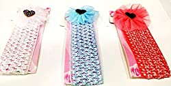 1stbabystore baby girl headband hairband cloth band hair accessories with design for newborn to 3 years, Blue,White,Red (3 pieces)