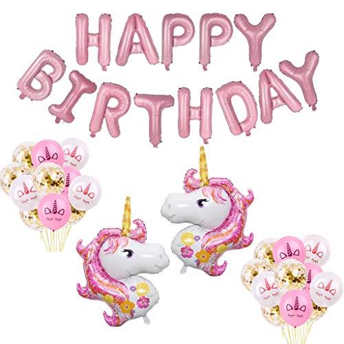 (Formemory 25 Pcs Einhorn Happy Birthday Banner,Rosa Luftballons Deko,Einhorn Latex Ballons für Mädchen Junge,Konfetti Luftballons,Kinder Geburstag Dekoration)
