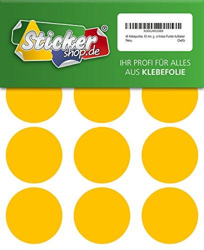 48adhesivos, 50mm, amarillo, funda de PVC, resistente a la intemperie, LabelOcean círculos puntos Pegatinas