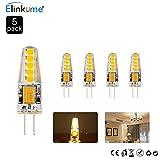 ELINKUME 5X G4 3W LED Light Bulbs Capsule AC/DC 12V Warm White 250LM,Equivalent to 20W Halogen,G4 LED Bulbs 3000K