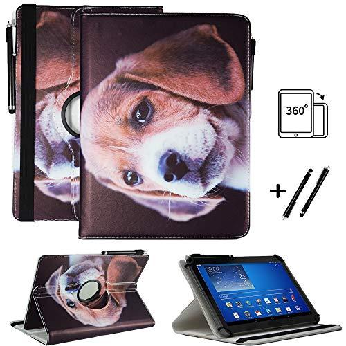 Tablet 10.5 Zoll Hülle für Samsung Galaxy Tab 10.5 LTE Wi-Fi Schutzhülle Etui Case mit Touch Pen & Standfunktion - Hund 6 360