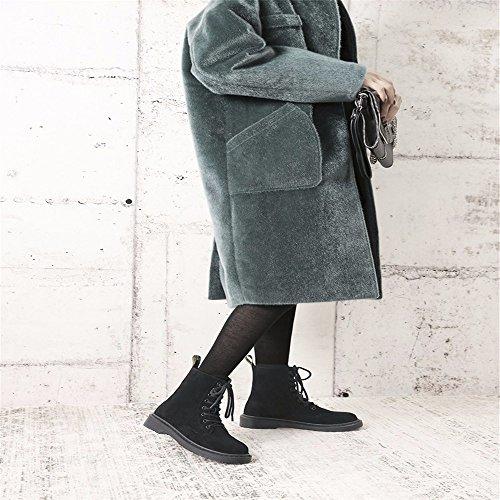 HXVU56546 Stivali Invernali Donna Piatta Più Velluto Spesso Martin Stivali Studenti Scarpe Joker black