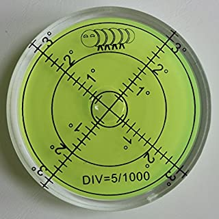 Acrylic Large Spirit Bubble Level (Green Liquid) 60mm Diameter, Degrees - Acrylic Housing, Surface Level, Bulls Eye Bullseye Vial Round -Perfect for tripod and more