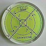Dosenlibelle - Große Acryl-Wasserwaage mit Luftblase in grüner Flüssigkeit, 60 mm Durchmesser, Gradzahlen – Acrylgehäuse, Boden-Wasserwaage, Bullseye, rund