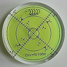 Niveau à Bulle Large en Acrylique (liquide vert) 60mm de diamètre, Degrés - Boîtier en Acrylique, Niveau de Surface, Bulls Eye Bullseye Fiole à niveau Rond