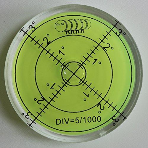 Dosenlibelle - Große Acryl-Wasserwaage mit Luftblase in grüner Flüssigkeit, 60 mm Durchmesser, Gradzahlen - Acrylgehäuse, Boden-Wasserwaage, Bullseye, rund