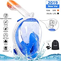 MOSFiATA Full Face Snorkeling Mask, Snorkel Mask 180° Seaview for Adults or Kids, Easy Breathing Snorkeling Masks, Anti-Fog Anti-Leak Safety Diving Mask with Detachable Action Camera Mount