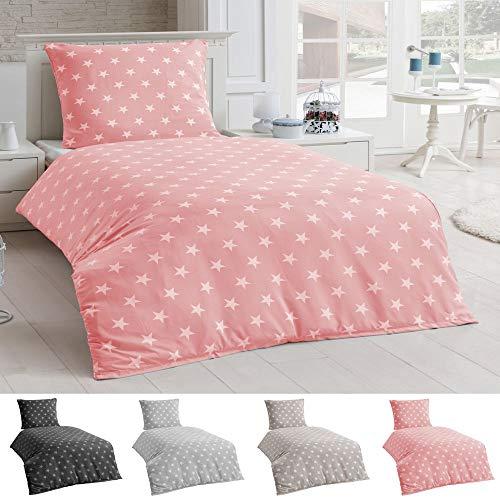 DreamHome® 2 teilige Sterne Bettwäsche, Bettbezug in der Größe 135x200 und Kissenbezug 80x80 Farbe: Rosa