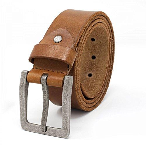 ROYALZ Antik Vintage Ledergürtel für Herren Büffel-Leder aus robusten 4mm Voll-Leder Jeans-Herren-Gürtel mit Dornenschließe 38mm, Farbe:Braun, Größe:80
