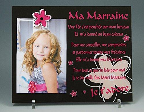 Cadre Photo Aimant – Poème pour Marraine – (Cadeau Parrain Marraine Baptême & Communion)